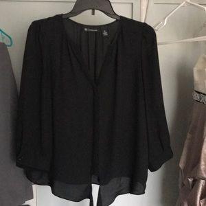 Black INC front tie blouse